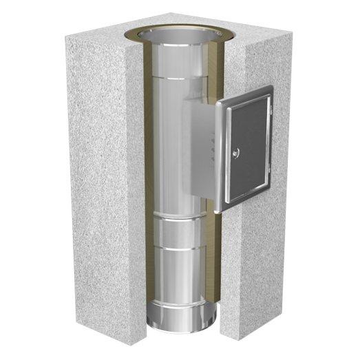 Leichtbauschornstein Schachtelement 500 mm mit Reinigung (zylindrisch)