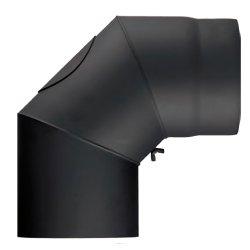 Ofenrohr Winkel Senotherm DN 120 45° mit Reinigungsöffnung schwarz metallic