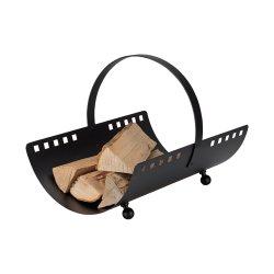 Eisen Holzkorb Square schwarz beschichtet mit Griff