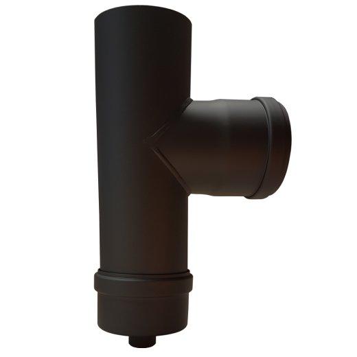 Pelletrohr Kapselwinkel 220 mm (T-Stück mit Kapsel abnehmbar) DN 80 Schwarz
