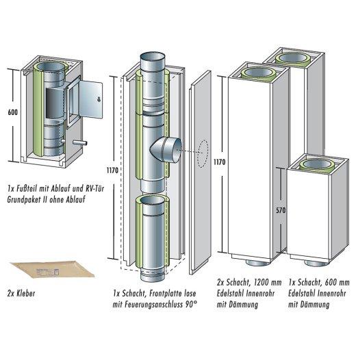 Raab Leichtbauschornstein Universal Grundpaket 1 Höhe 4,8 m mit Ablauf