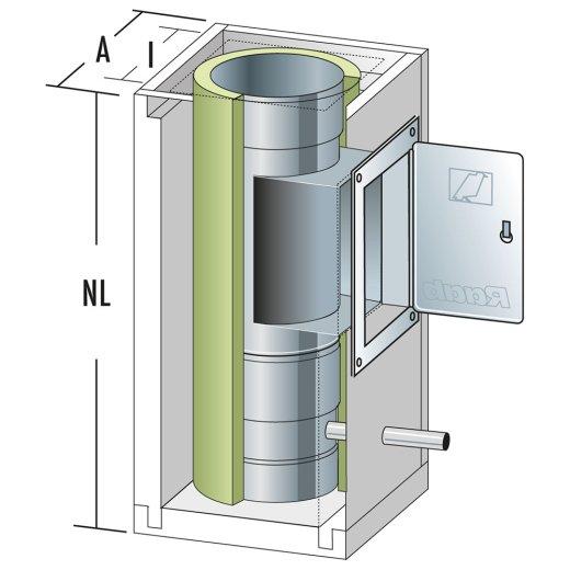 Schachtelement 600 mm mit Fuß , Ablauf und Reinigung 140/200
