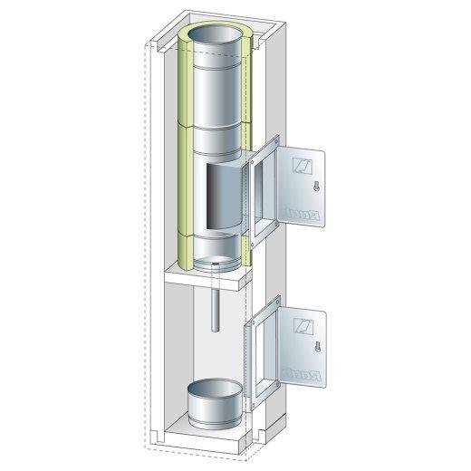 Schachtelement 1200 mm mit Kondensatgefäß, Ablauf und Reinigung 140/200