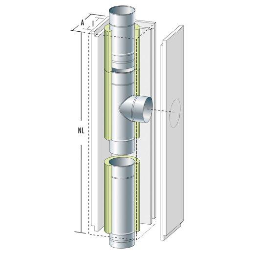 Schachtelement 1200 mm Front lose, T-Stück 90° mit Dehnung, gleicher Abgang für Wandfutter doppelt