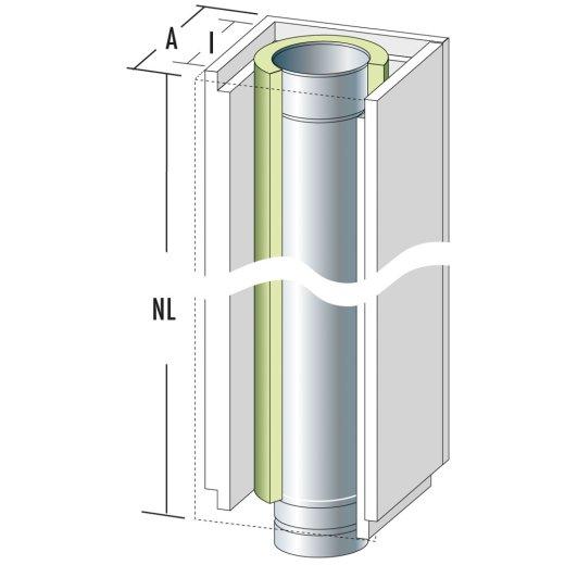 Schachtelement 1200 mm mit Edelstahlrohr und Dämmung