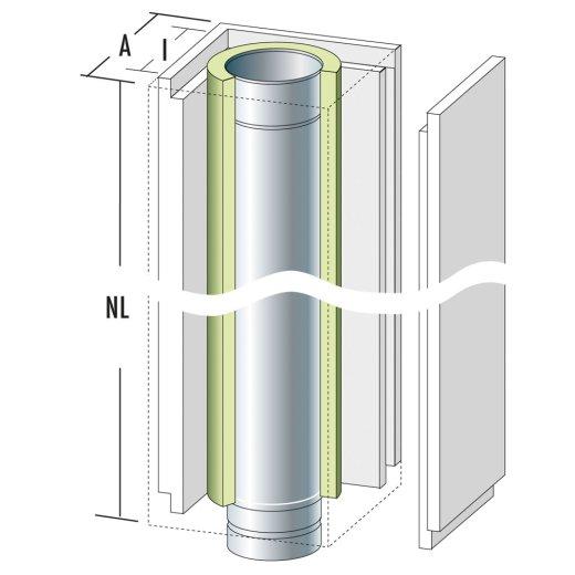 Schachtelement 1200 mm mit Edelstahlrohr und Dämmung / Frontplatte lose