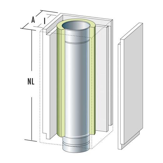 Schachtelement 600 mm mit Edelstahlrohr und Dämmung / Frontplatte lose